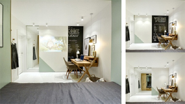 Không gian đẹp với khối hộp hữu ích cho căn hộ 14 m2
